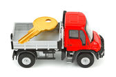 Toy car truck with key — Stock Photo