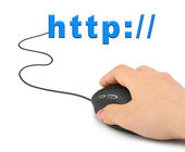Hand with computer mouse and word http — Stock Photo