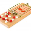 Mousetrap and pills — Stock Photo