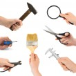Set of hand with tool — Stock Photo