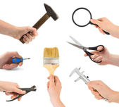 Set van hand met gereedschap — Stockfoto
