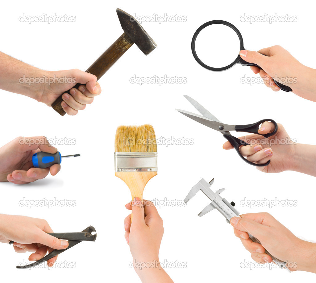 Set of hands with tools isolated on white background  Stock Photo #4813432