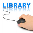 Hand with computer mouse and word Library — Stock Photo #4845046