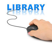 Hand with computer mouse and word Library — Stock Photo