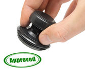 Hand and rubber stamp Approved — Stock Photo