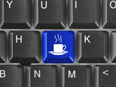 Computer keyboard with coffee key — Stock Photo