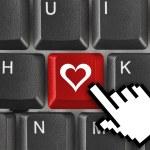 Počítačová klávesnice s láskou klíčem — Stock fotografie