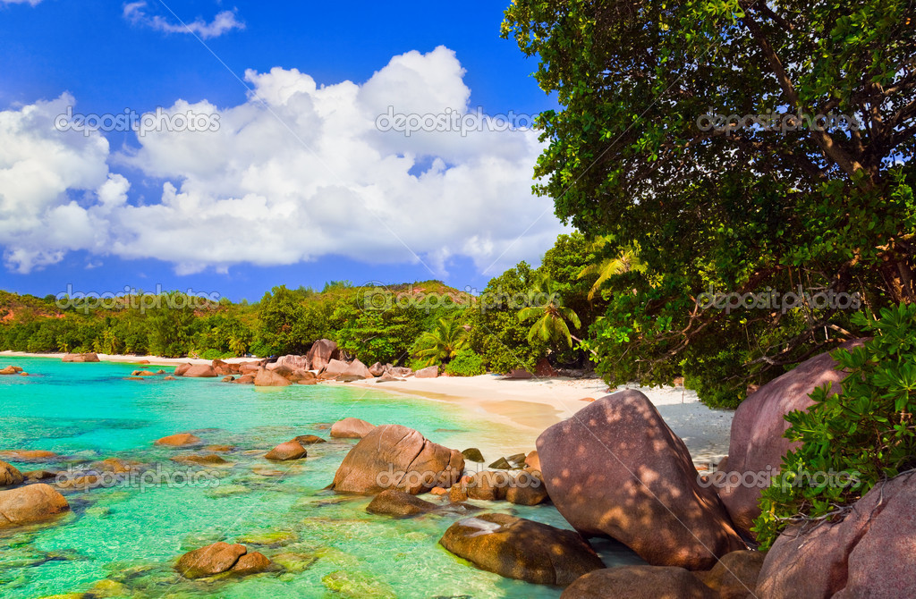 Beach Anse Lazio at island Praslin, Seychelles - nature background — Stock Photo #4930249