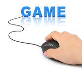 Ręka z myszy komputerowej i gry — Zdjęcie stockowe