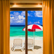 Royalty-Free Stock Photo: Hotel room and beach landscape