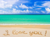 Words I Love You on beach — 图库照片