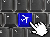 Computer keyboard with Plane key — Foto Stock
