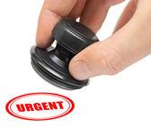 Hand and stamp Urgent — Stock Photo