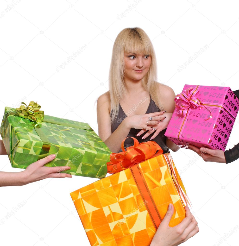The young girl accepts gifts from different directions — Stock Photo #2799761