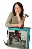 The girl thinks how to repair a computer — Stock Photo
