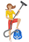 Girl with a vacuum cleaner — Stock Vector