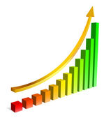 Upgrowing 3D graph — Stock Vector
