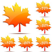 3D maple leaf discount labels — Stock Vector