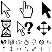 Standard pixel cursors — Stock Vector