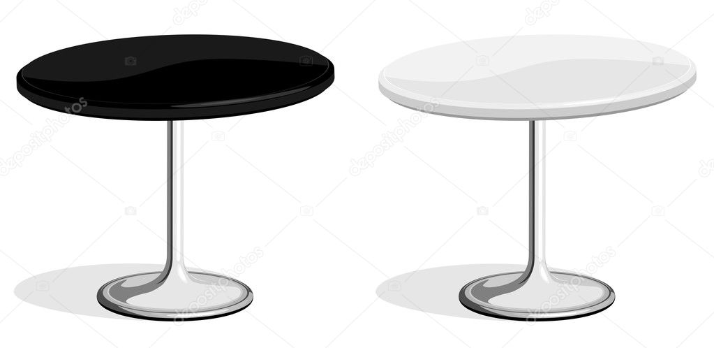 Vector illustration of black and white coffee shop table isolated on white background. No gradients or effects is used.  Stock Vector #2762370