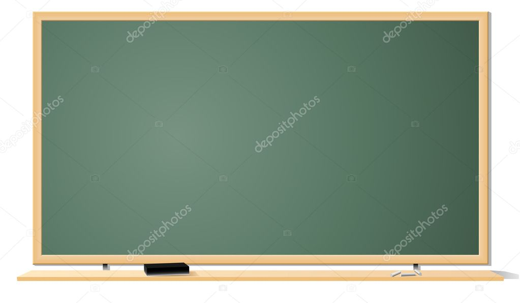 Vector illustration of green clean classroom blackboard isolated on white background. — Stock Vector #2762449