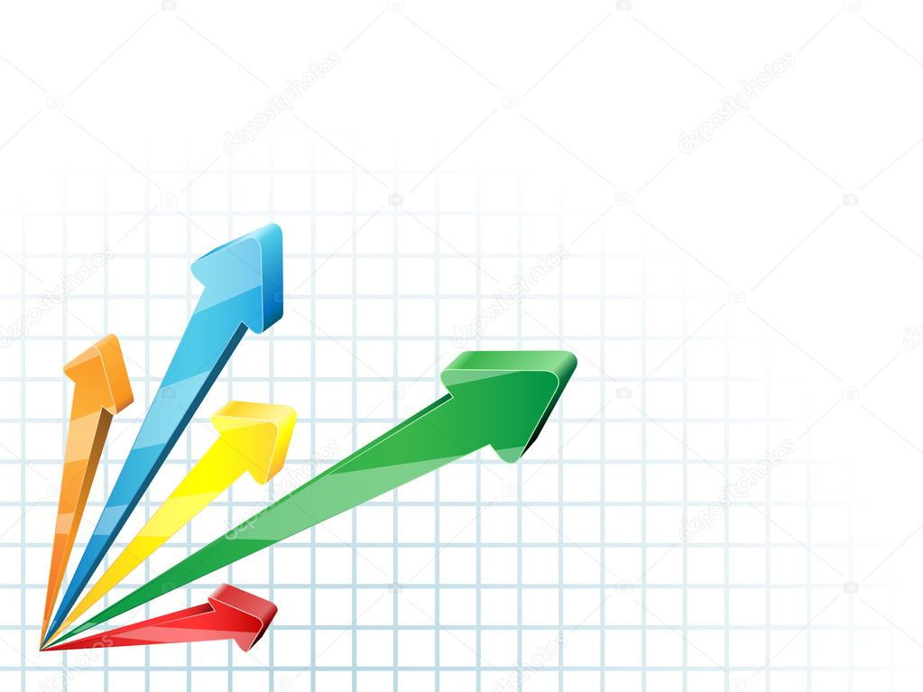 Abstract competing 3D arrows business vector background. — Stock Vector #2762748
