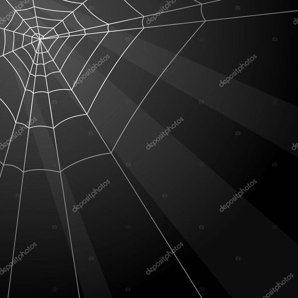 Dark vector background with spider web in the corner. — Stock Vector #2762762