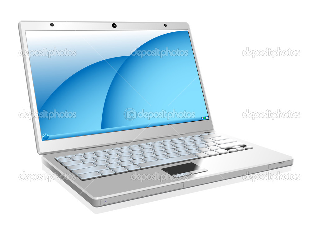 Vector illustration of working white laptop isolated on white background. — Stock Vector #2824585