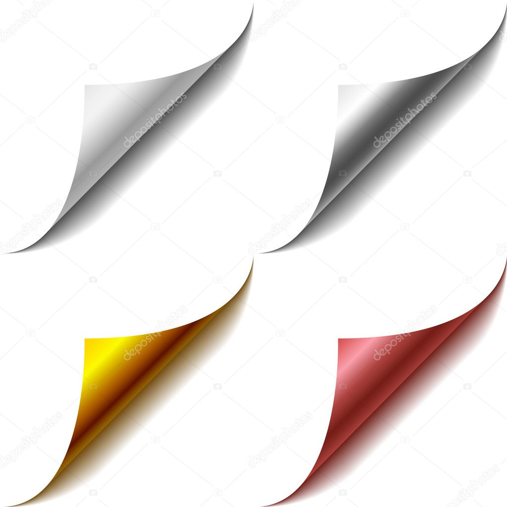 Vector set of bent page corners. One matt and three glossy ones. — Stock Vector #2824598