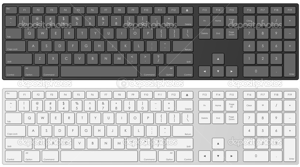 Vector illustration of modern computer keyboard in white and black color.  Stock Vector #2824600