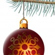 Christmas ball hanging on spruce branch - Stock Vector