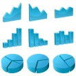 Stock Vector: 3d graph icons