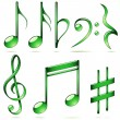 Royalty-Free Stock Imagem Vetorial: Music notation icons