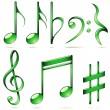 hudební notace ikony — Stock vektor