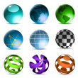 Globes and spheres icons — Vector de stock