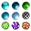 Globes and spheres icons — Stock Vector