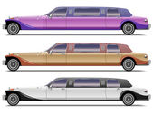 Realistic retro limousines — Stock Vector