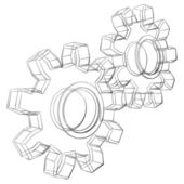 Cogwheels sketch — Stock Vector