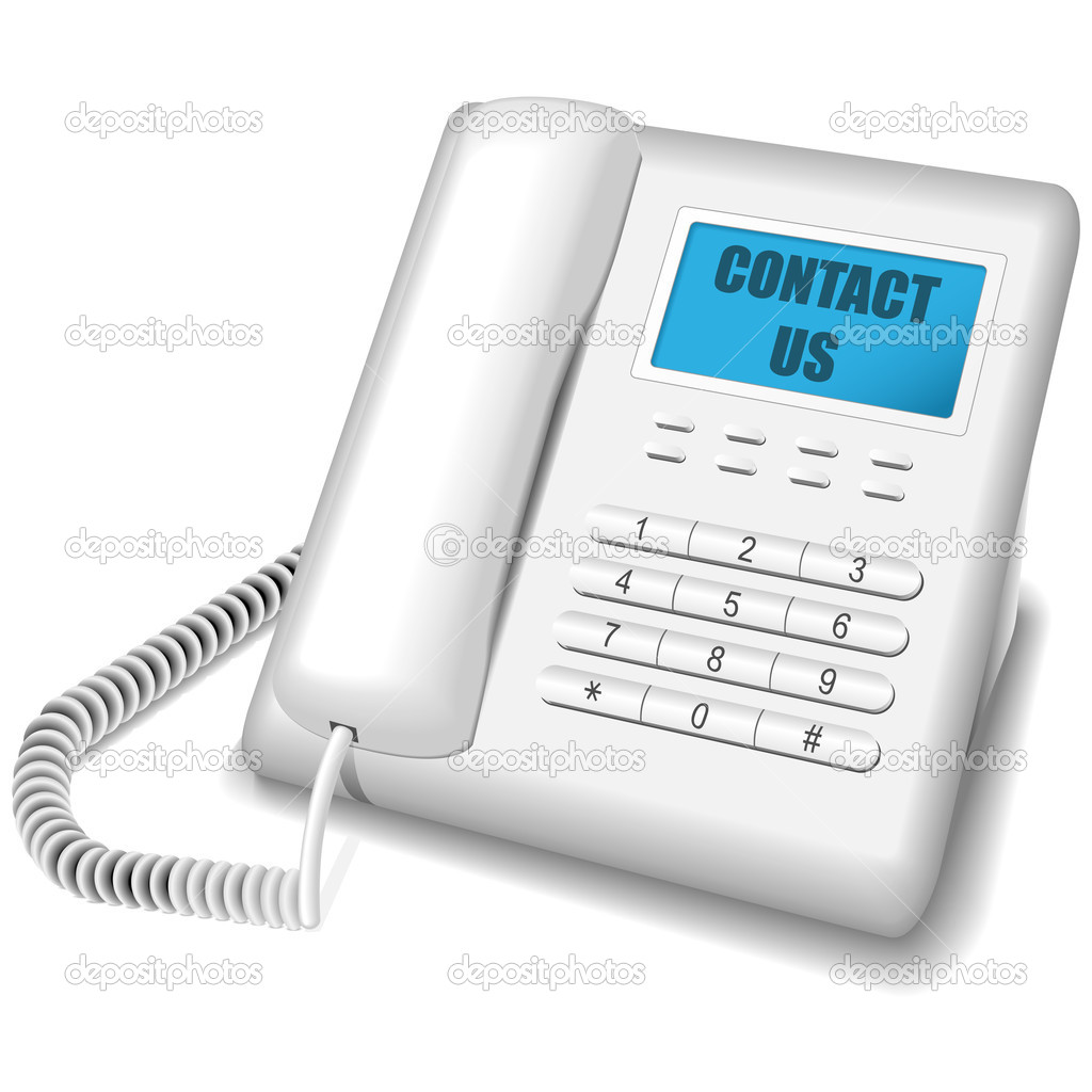 Vector illustration of modern white telephone isolated on white background. Contact us icon. — Stock Vector #2832733