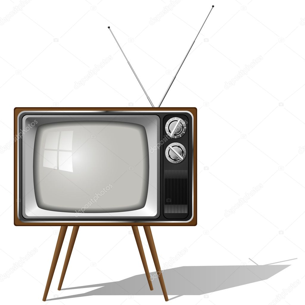 Vector illustration of old-fashioned four legged TV set isolated on white background.  Stock Vector #2832780