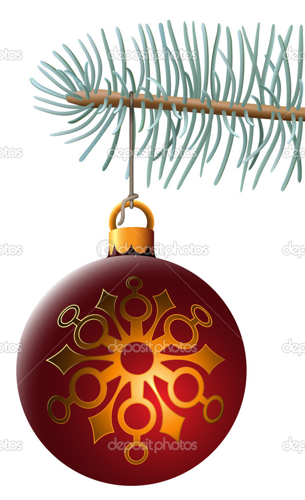 Vector illustration of christmas ball hanging on blue spruce branch isolated on white background. Illustrator mesh is used for spruce branch and cord. — Stock Vector #2832925