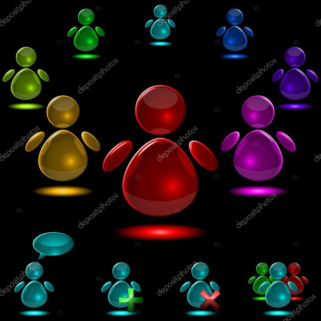 矢量玻璃发光的黑色背景上孤立用户数字一套— 矢量图片作者 tuuli