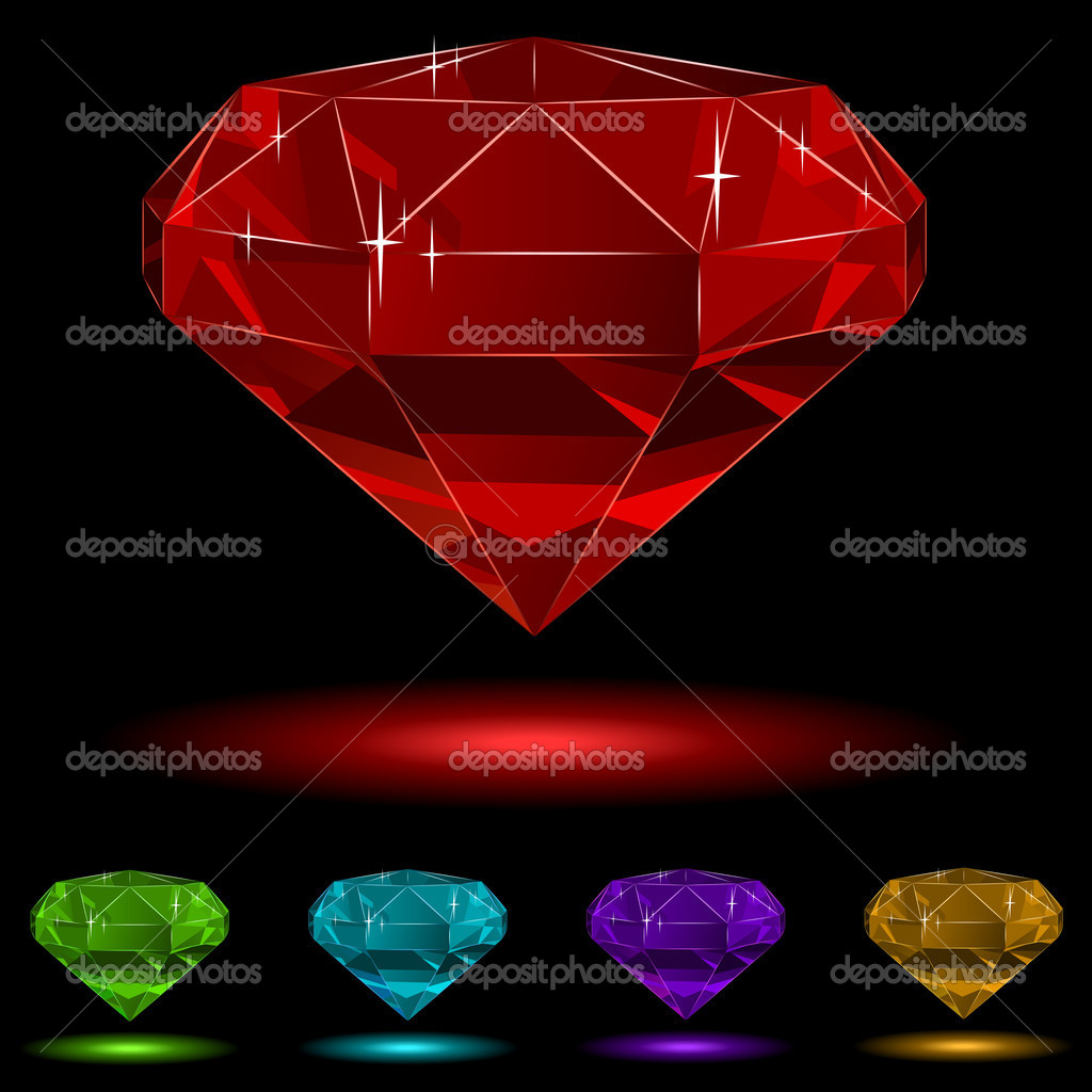 Colorful diamond vector set isolated on black background. — Stock Vector #2833039