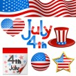 Stock Vector: July 4th symbols.