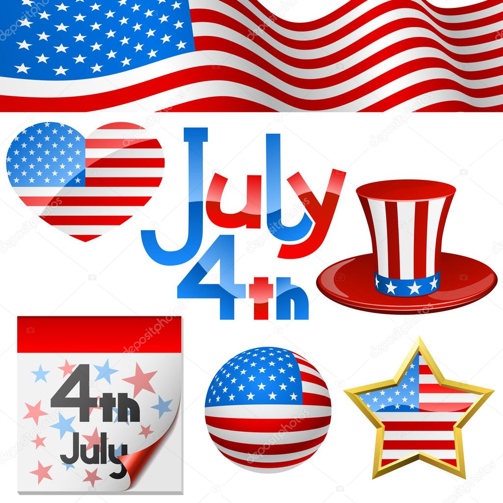 July 4th Independence Day symbols vector set. —Vector by tuulijumala