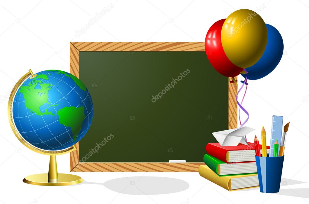 Blank blackboard with school accessories with copy space for your text. — ベクター素材ストック #3635417