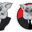 Angry businessman pig - Stock Photo