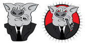 Angry businessman pig — Stock Photo