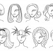Hairstyle elements for salon with face. — Stock Photo