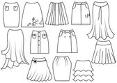 Vector skirts for women on white — Stock Photo